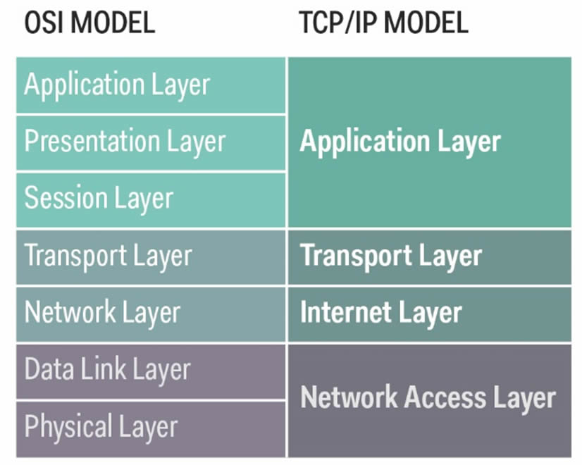 The OSI model and TCP IP model compared